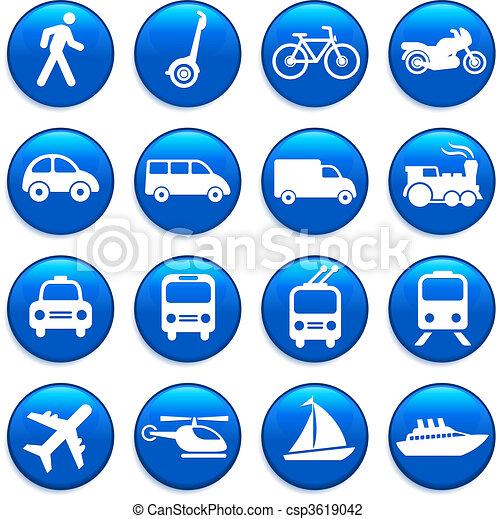 transporte, elementos, desenho, ícones - csp3619042