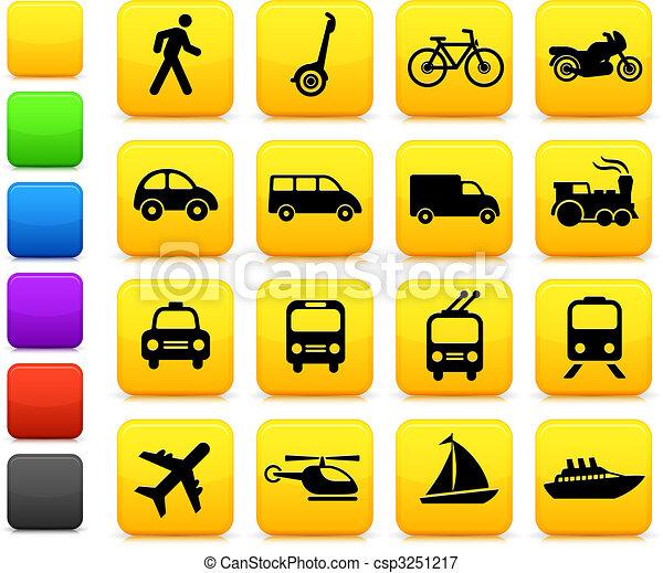 transporte, elementos, desenho, ícones - csp3251217
