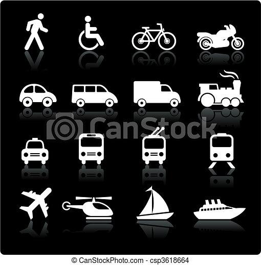 transporte, elementos, desenho, ícones - csp3618664