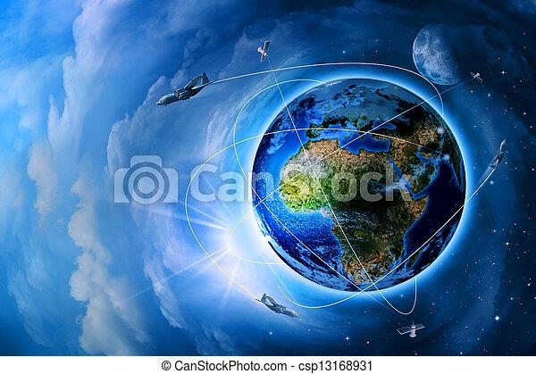 transporte, espacio, resumen, fondos, futuro, tecnologías - csp13168931