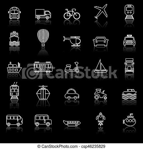 Los íconos de la línea de transporte reflejan el fondo negro - csp46235829
