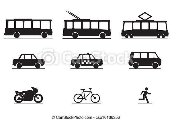transporte, público, ícones - csp16186356