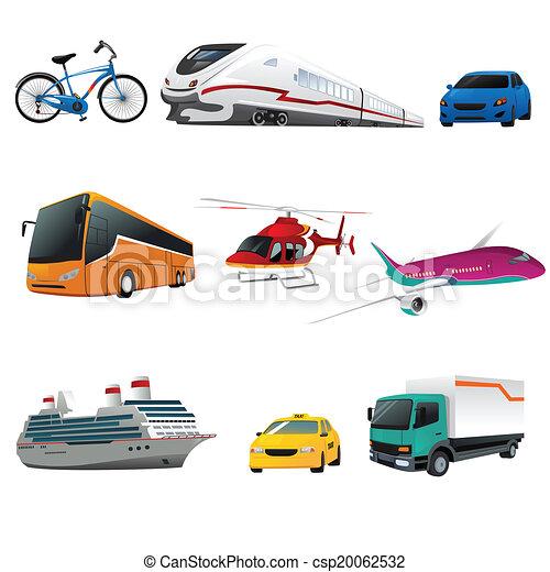 transporte, público, ícones - csp20062532