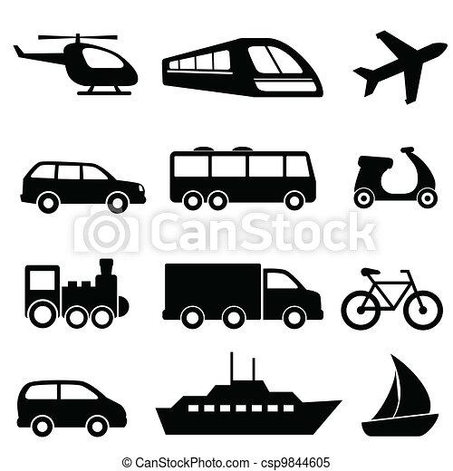 transporte, pretas, ícones - csp9844605