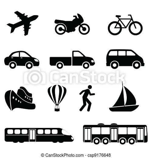 transporte, pretas, ícones - csp9176648