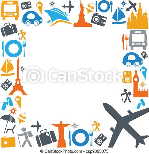transporte, viajando, coloridos, ícones - csp9005075