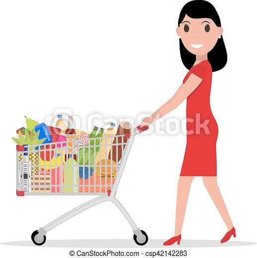 Vectora con el carrito lleno de comida - csp42142283
