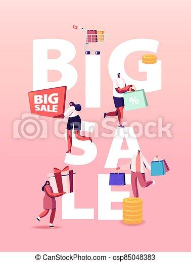 tranvía, feliz, compras, compras, shopaholics, tienda de comestibles, venta, lleno, estacional, concept., caracteres, grande, discount. - csp85048383