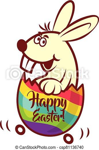 tranvía, huevo, conejito de pascua, agrietado, colorido, dientes, sentarse, feliz, lema, grande, dentro - csp81136740