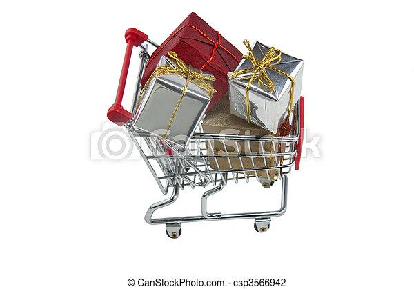 Trolley lleno de regalos - csp3566942