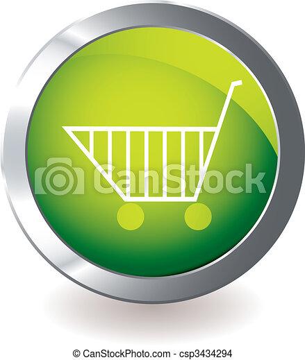 Un carro de iconos verdes - csp3434294