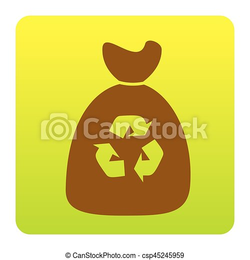 Trash bag icon. Vector. Brown icon at green-yellow gradient square with rounded corners on white background. Isolated. - csp45245959