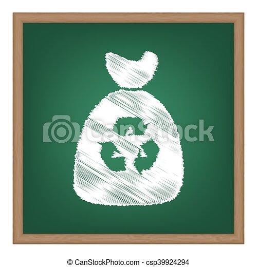 Trash bag icon. White chalk effect on green school board. - csp39924294