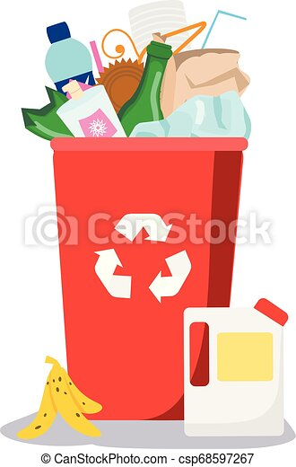 Trash bin. Garbage can with different waste inside. Plastic, paper, glass and other household rubbish - csp68597267