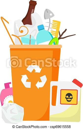 Trash bin. Garbage can with waste inside. Plastic, glass, hazardous and other household rubbish - csp69615558
