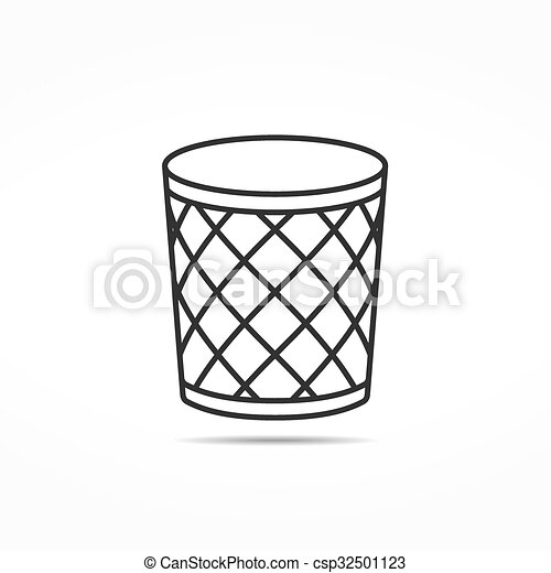 trash can line icon empty office trash can line icon vector eps10
