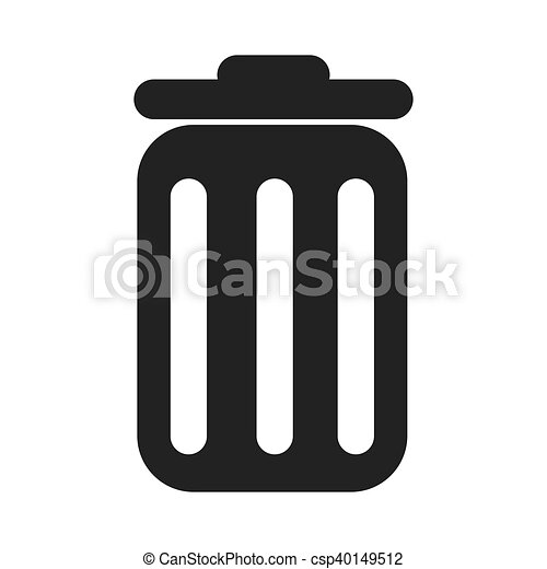 Large Size Of Trash Bin Sign Vector Trashcan Ilration Flat Style Black Icon On Transpa