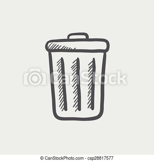 trash can sketch icon for web and mobile hand drawn vector dark