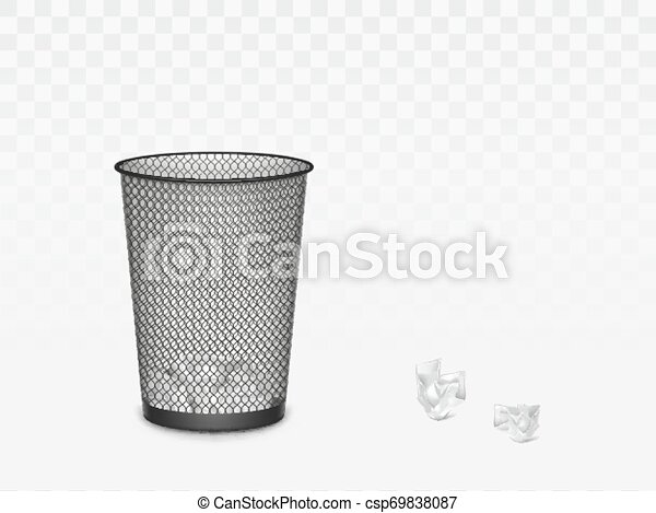 Trash can with crumpled paper inside and around. - csp69838087