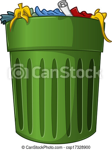 a vector illustration of a big green trash can with trash vector rh canstockphoto com trash can clipart black and white trash can clipart gif