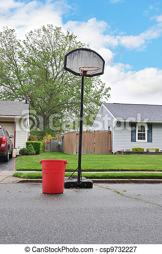 Trash Day Suburban Neighborhood - csp9732227