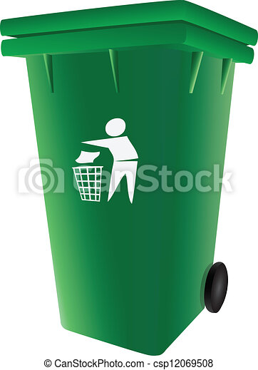 Trash Garbage Can Green Plastic Garbage Container With A