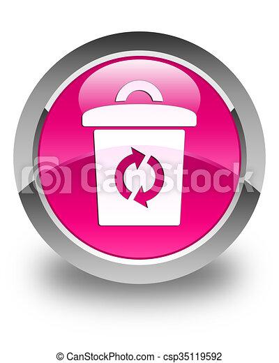 Trash icon glossy pink round button - csp35119592