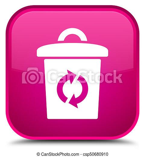 Trash icon special pink square button - csp50680910