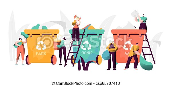 Trash Recycling Industrial Concept. People - csp65707410