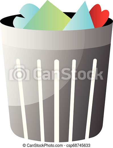 Trashbin with trash inside vector illustration on a white background - csp68745633