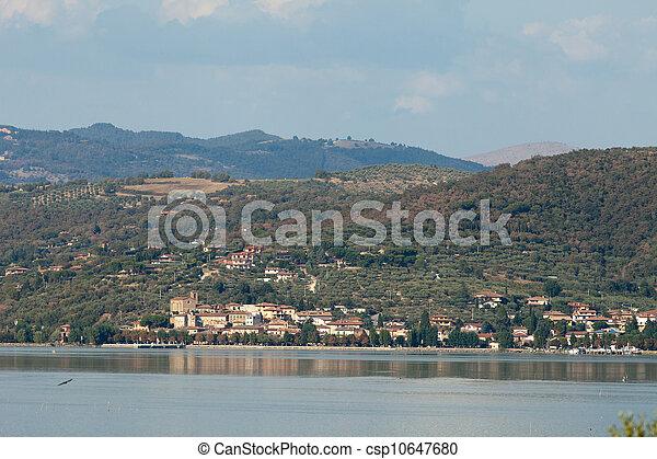 Trasimeno Lake at summer . Umbria, Italy - csp10647680