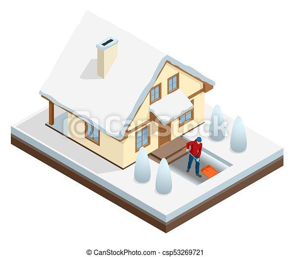 Un hombre con una pala limpiando la nieve llenó el patio trasero fuera de su casa. Ciudad tras ventisca. Casa cubierta de nieve. Ilustración de vectores - csp53269721