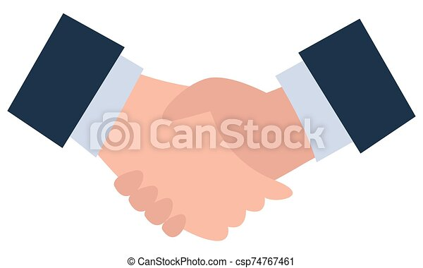 trato, vector, empresa / negocio, acuerdo, apretón de manos, socios - csp74767461
