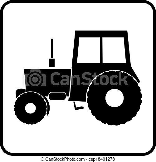 trator, ícone, silueta - csp18401278