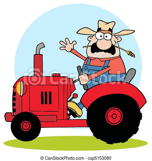 trator, agricultor, vermelho - csp5153080
