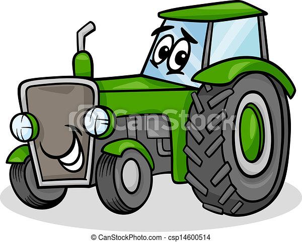 trator, personagem, caricatura, ilustração - csp14600514