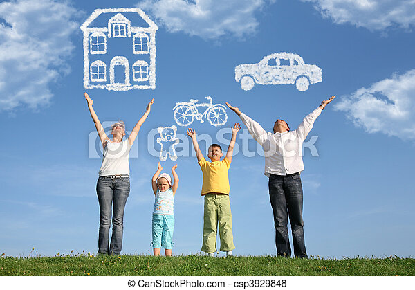 Eine vierköpfige Familie mit erhobenen Händen und Träumen, Collage - csp3929848