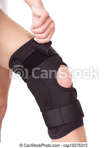 Trauma of knee in brace. - csp10275313