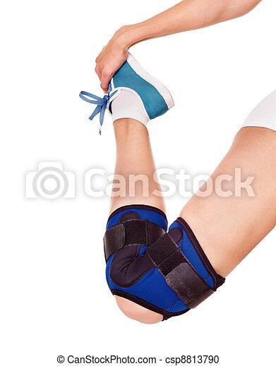 Trauma of knee in brace. - csp8813790