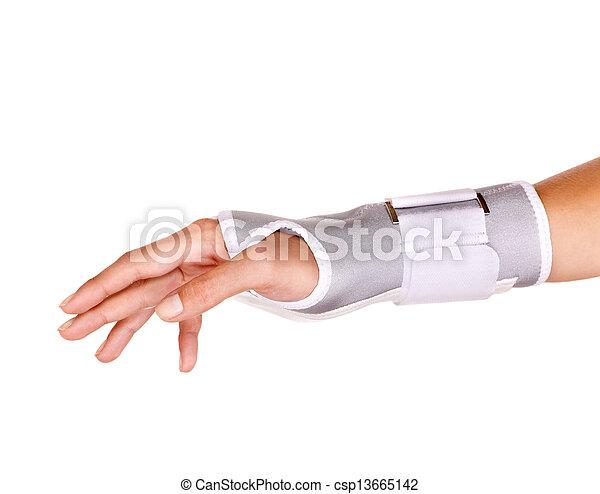 Trauma of wrist in brace. - csp13665142