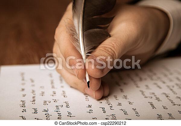 travail, écrit, écrivain, stylo, papier, fontaine - csp22290212