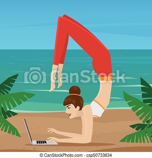 travail, éloigné, océan, côte - csp50733634