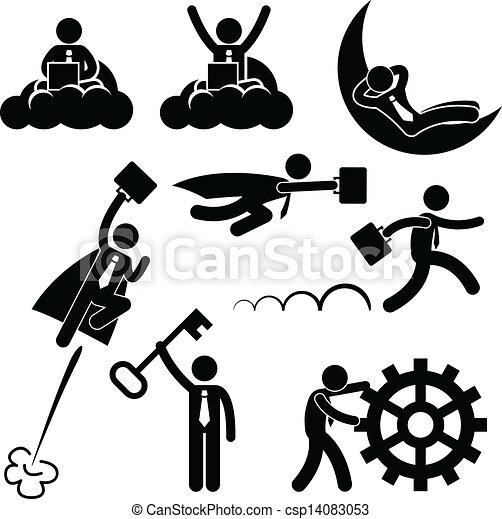 travail, homme affaires, concept, business - csp14083053