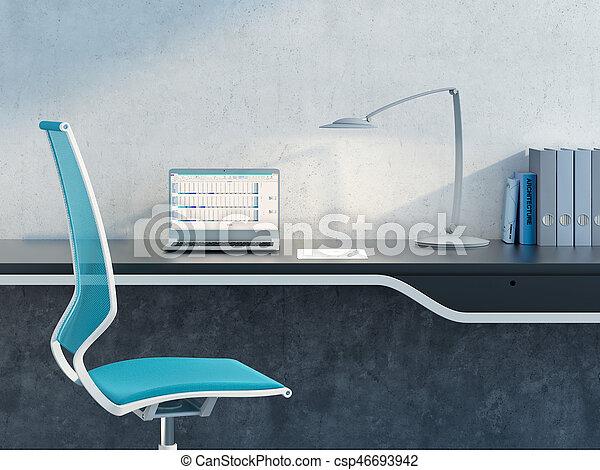 travail, moderne, endroit, bureau