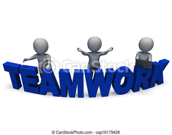 travailler ensemble, collaboration, caractères, spectacles, 3d - csp16179426