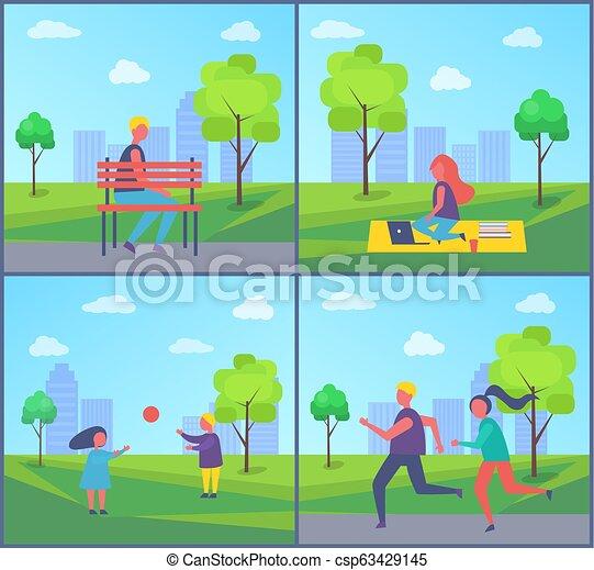 travailleur indépendant, vecteur, parc, illustration, fonctionnement - csp63429145
