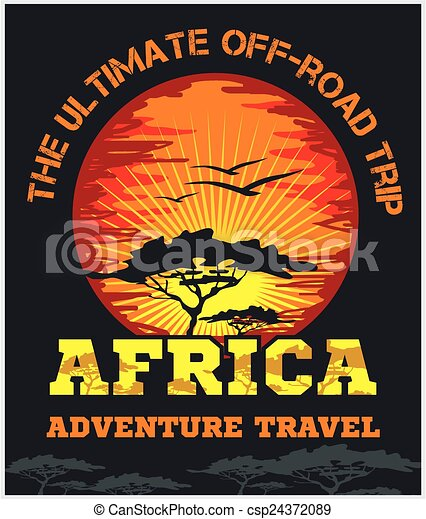 Travel Africa - extreme off-road vector emblem. - csp24372089