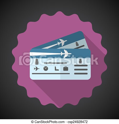 Travel Airplane Tickets Flat icon vector background - csp24928472
