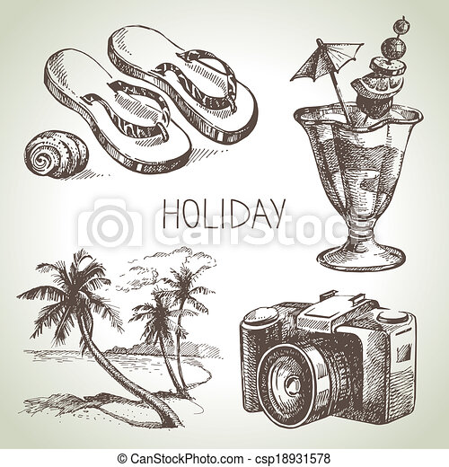 Travel and holiday set. Hand drawn sketch illustrations  - csp18931578