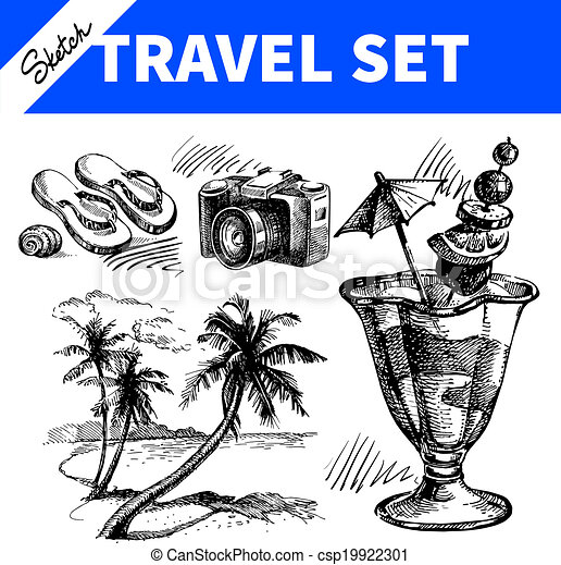 Travel and holiday set. Hand drawn sketch illustrations  - csp19922301